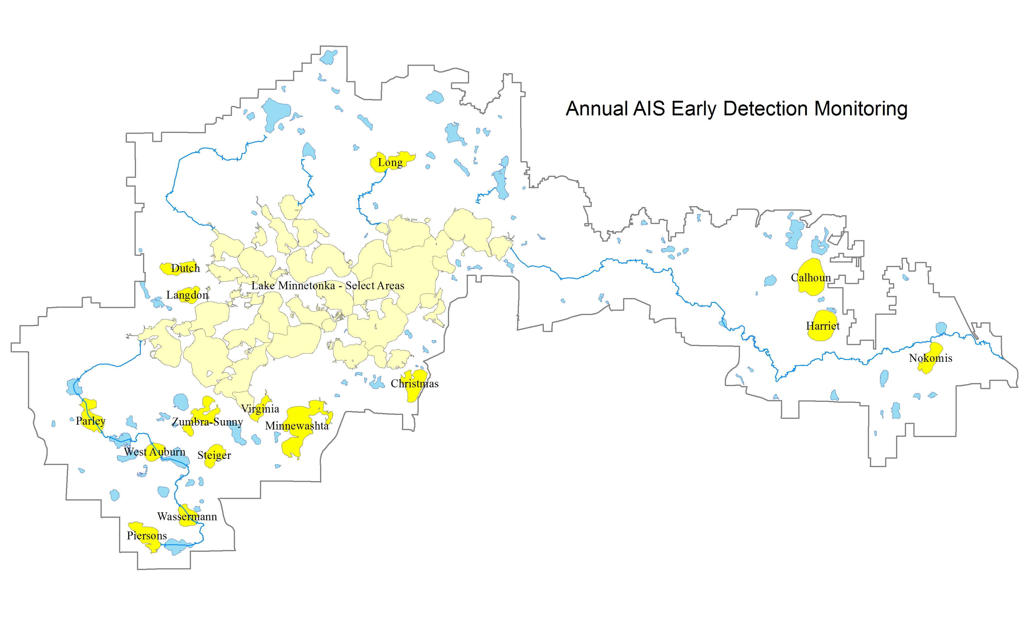 Annual AIS Early Detection Monitoring Map