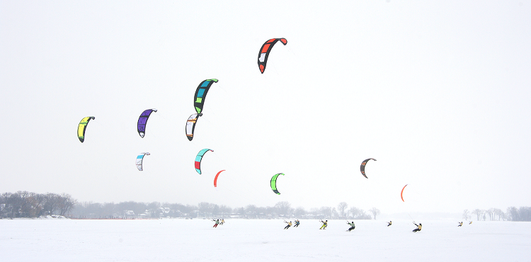 Kiteboards on Lake Minnetonka
