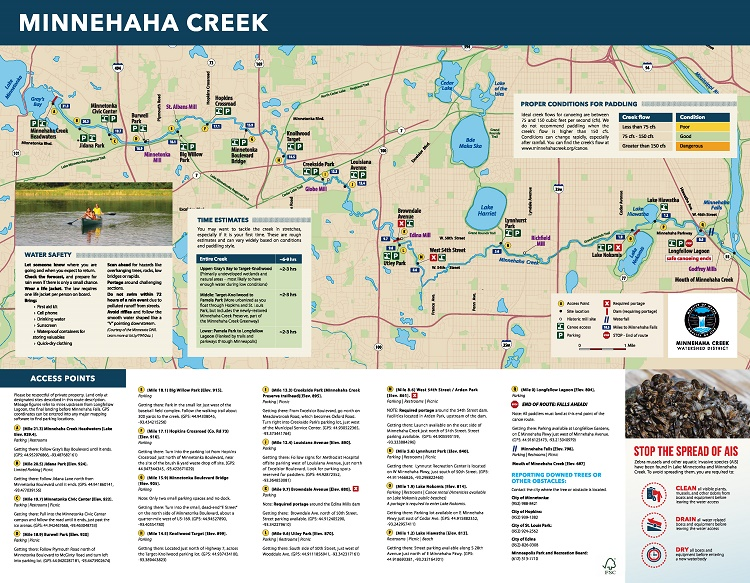 Minnehaha Creek paddling map
