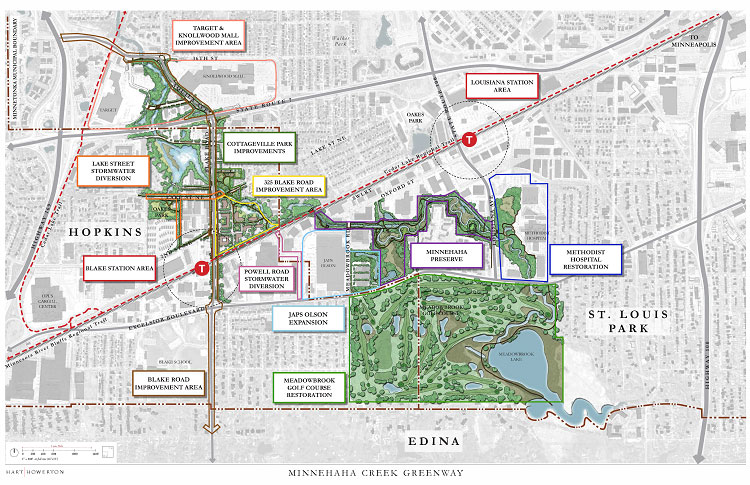 Map that shows completed and projected projects in the Minnehaha Creek Greenway