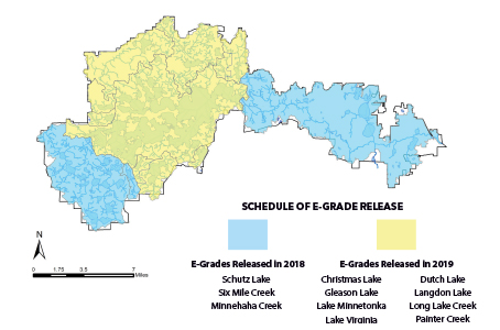 Map of the Minnehaha Creek Watershed District subwatershed e-grade groups