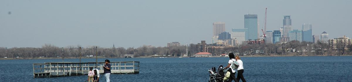 View of downtown Minneapolis from Lake Calhoun.