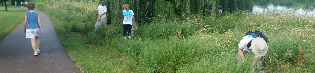 Volunteers pick up trash at our annual Minnehaha Creek Clean-Up