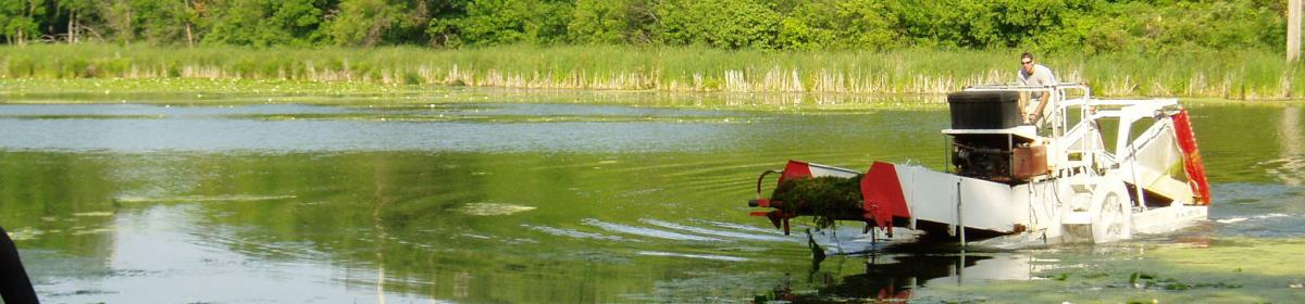 Harvesting aquatic vegetation from Gleason Lake