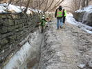 Crew working on trail restoration