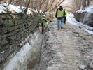 Crew working on trail restoration